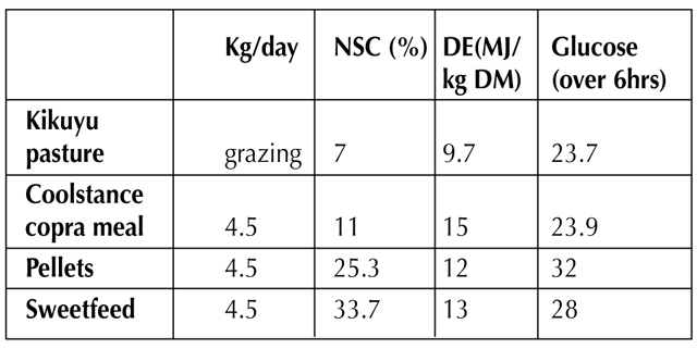 circulating glocuse levels in mares